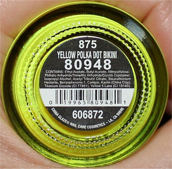 China Glaze Yellow Polka Dot Bikini Ingredients, Review & Swatch