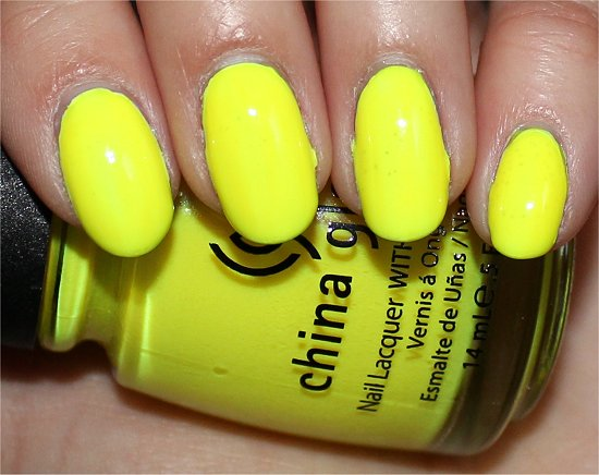 China Glaze Yellow Polka Dot Bikini Swatch & Pictures