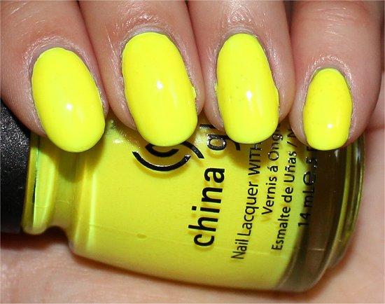 China Glaze Yellow Polka Dot Bikini Swatch & Review