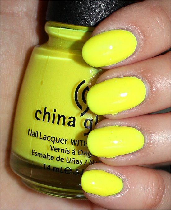 China Glaze Yellow Polka Dot Bikini Swatches & Review