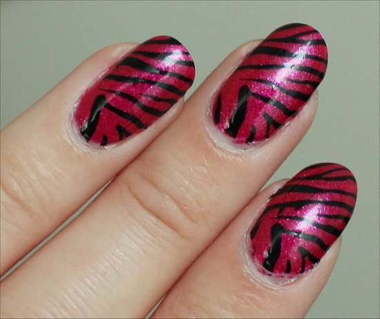 Easy Pink & Black Zebra Nail Art Nail Swatches