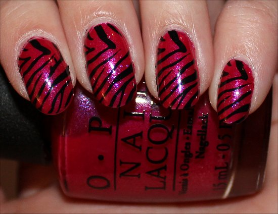 Easy Zebra Nail Art Pink & Black Nails