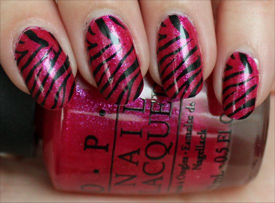 Pink & Black Zebra Konadicure Nail Art Swatches