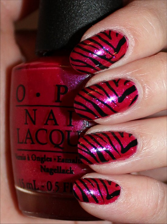 Pink & Black Zebra Nail Art Nail Swatches