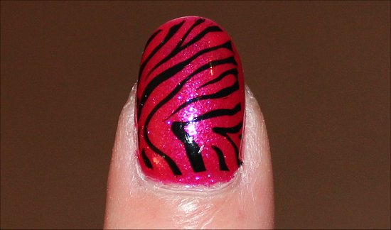 Pink & Black Zebra Nail Art