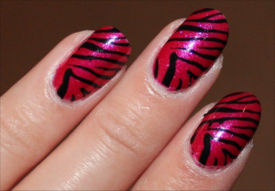 Pink & Black Zebra Nails Nail Art