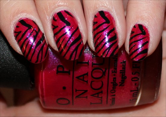 Pink and Black Zebra Nail Art Nails