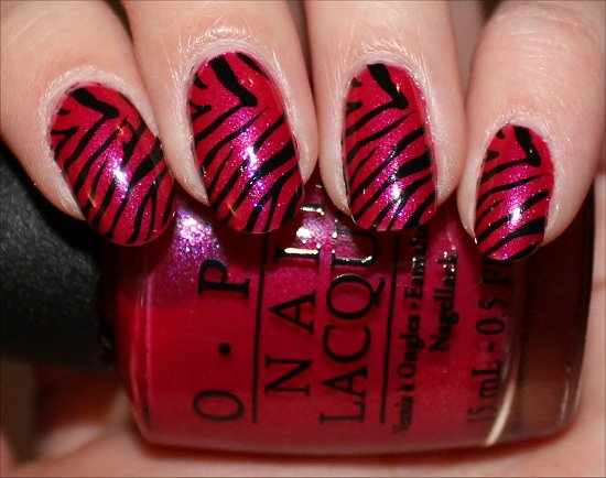 Pink and Black Zebra Nails Nail-Art Swatches
