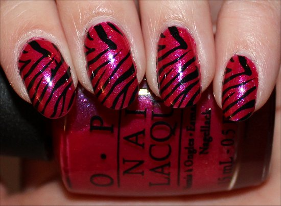 Pink and Black Zebra Pattern Nails Nail Art