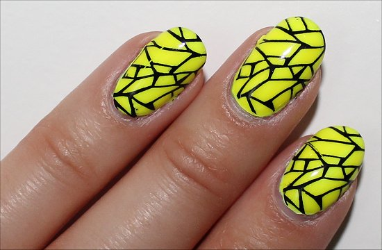 Yellow & Black Nail Art Swatch