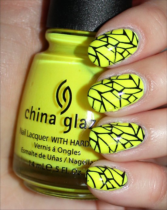 Yellow & Black Nails Nail Art Swatches