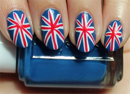 British Union Jack Nails Nail-Art Tutorial & Photos