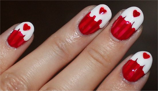 Canada Day Cupcake Nail Art Pictures
