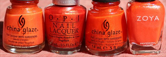Nailpolish Comparison OPI DS Luxurious China Glaze Riveting China Glaze Orange Marmalade Zoya Myrta