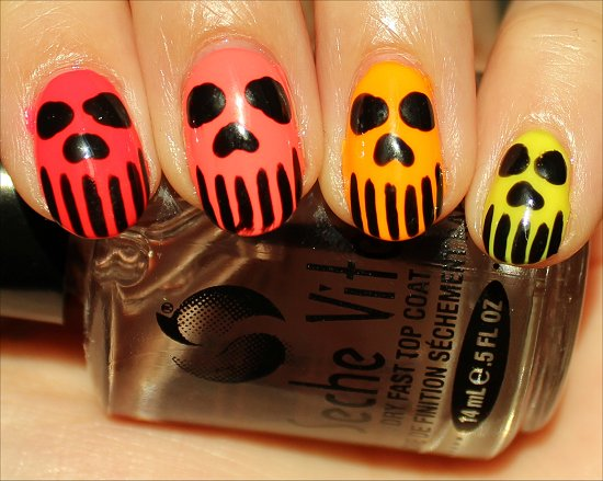 Neon Skull Nail Art Nails Photos