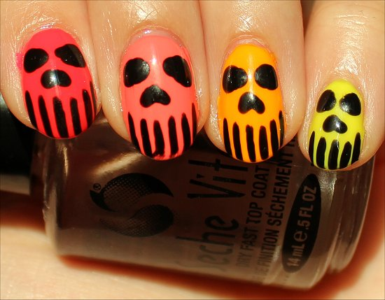 Neon Skull Nail Art Pictures