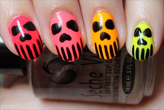 Neon Skull Nail Art