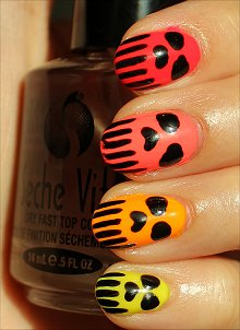 Neon Skull Nails Nail Art
