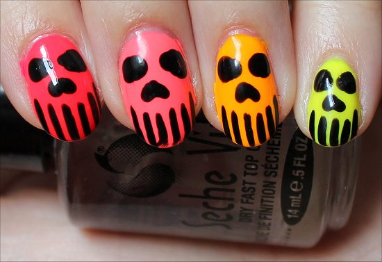 Neon Skull Nails