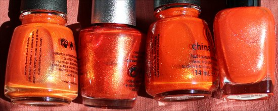 OPI DS Luxurious China Glaze Riveting China Glaze Orange Marmalade Zoya Myrta Comparison Post