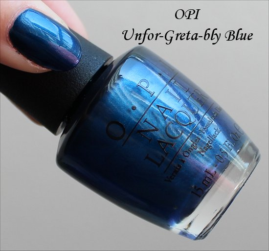 OPI Unfor-Greta-bly Blue OPI Germany Collection Swatches & Review