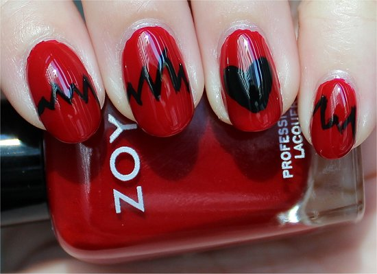 Heartbeat Nails Nail Art Pictures & Tutorial