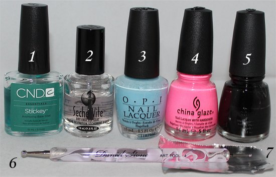 Pink & Blue Leopard Nail Art Tutorial Supplies