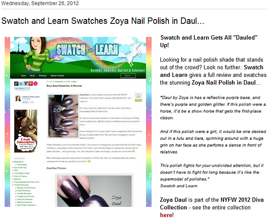 Swatch And Learn Featured on Zoya Nail Polish Blog