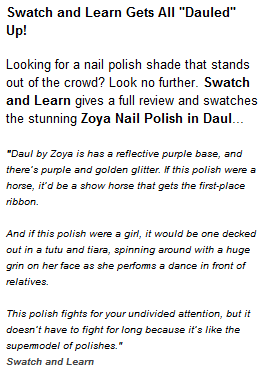 Swatch And Learn Featured on Zoya Official Nail Polish Blog