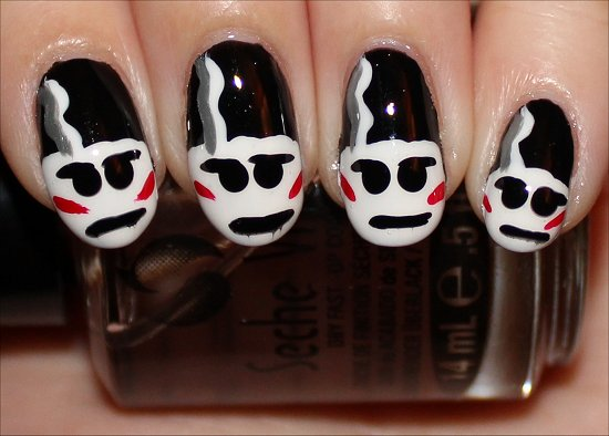 Bride of Frankenstein Nail Art Nails