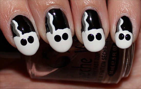 Bride of Frankenstein Nails Nail Art Tutorial Step 6