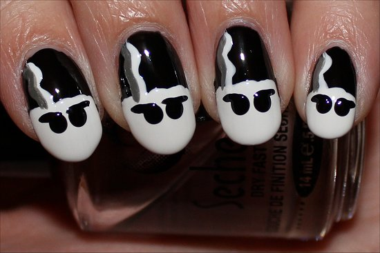Bride of Frankenstein Nails Nail Art Tutorial Step 7