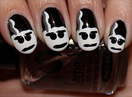 Bride Of Frankenstein Nail Design