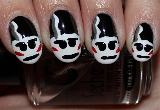 Bride of Frankenstein Nails Nail Art Tutorial Step 8