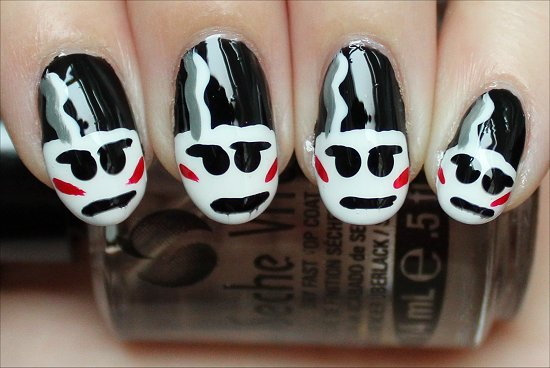 Halloween Nail Art Bride of Frankenstein Nails