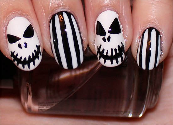 Halloween Nails Nail-Art Tutorial Jack Skellington Nail Art
