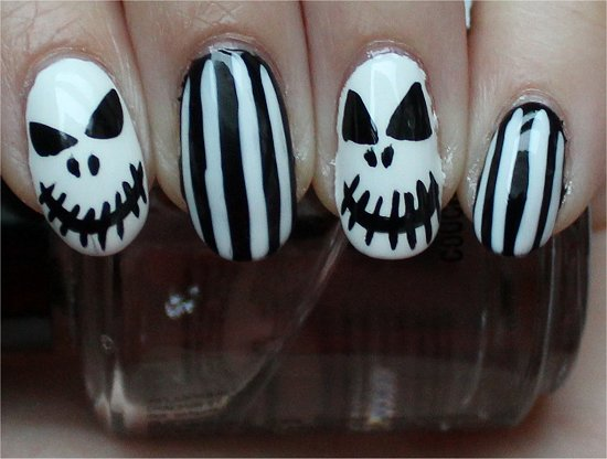 Jack Skellington Nightmare Before Christmas Nails Nail Art