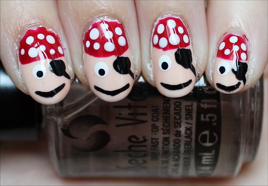 Pirate Nails Nail Art How-to Tutorial