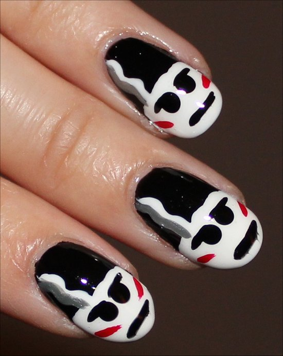 The Bride of Frankenstein Nail Art Halloween Nails
