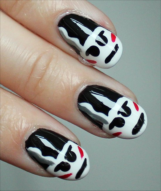 The Bride of Frankenstein Nail-Art Tutorial &amp; Pictures