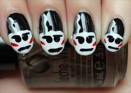 The Bride of Frankenstein Nails Nail Art Tutorial