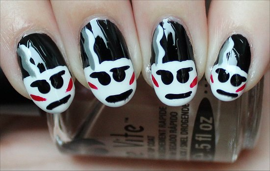 The Bride of Frankenstein Nails Nail-Art Tutorial