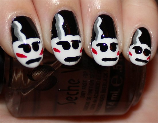 The Bride of Frankestein Nail Art Halloween Nails