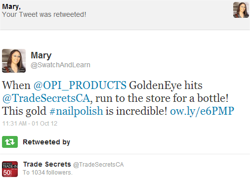 Trade Secrets OPI GoldenEye Swatch And Learn Twitter