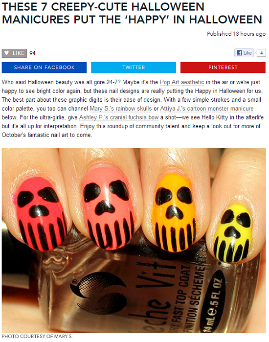 beautylish SwatchAndLearn Neon Skull Nails Nail Art
