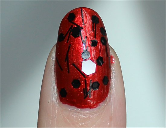 Black Red White Nail Art