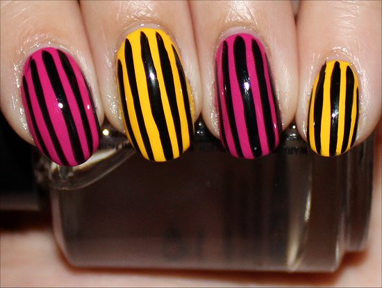 Pink &amp; Yellow Manicure Stripe Nail Art