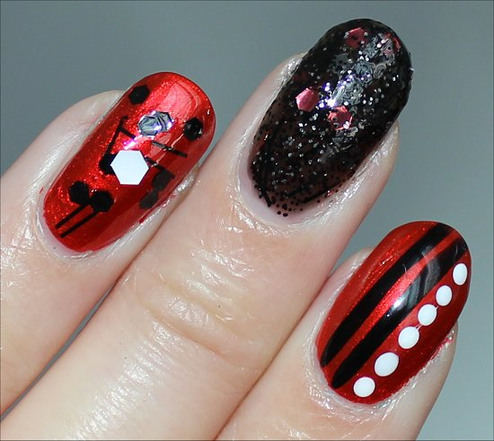 Red Black White Nail Art Pictures