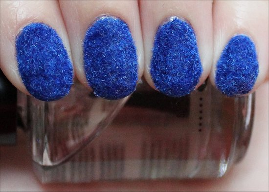 Blue Flocked Manicure Nail Art & Tips