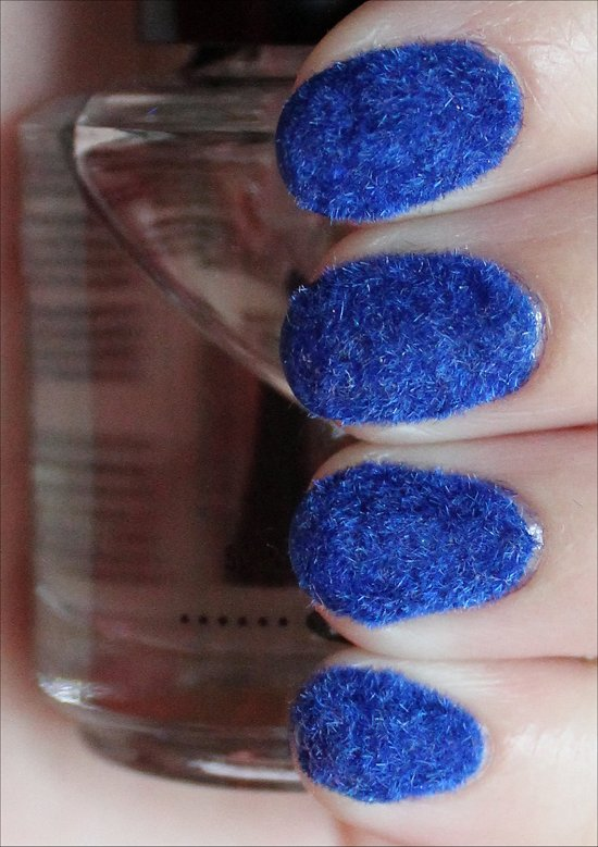 Blue Flocked Nails Nail Art Swatches